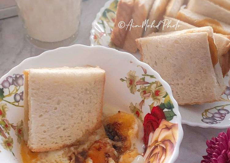 Resepi:  Telur Separuh Masak dan Roti Bakar Kaya  Termudah