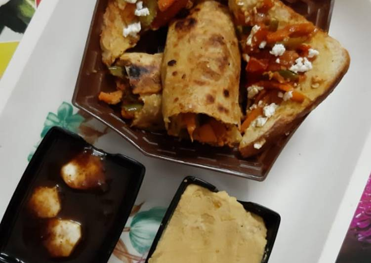 Recipe of Favorite Veggies Peanut Hummus Roti and Bread Wraps & Imli and Banana Chutney
