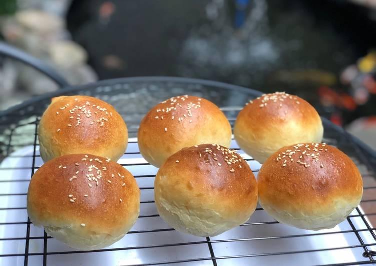 Burger bun homemade mudah dan praktis / overnight kalis tanpa ulen