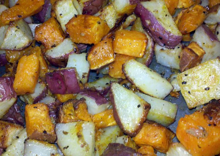 roasted red and sweet potatoes
