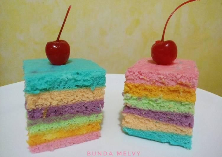 Rainbow Cake Kukus 2 Telur