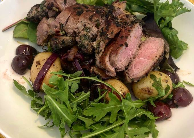 Herby Lamb Leg Steak with Homemade Cherry and Potato Salad