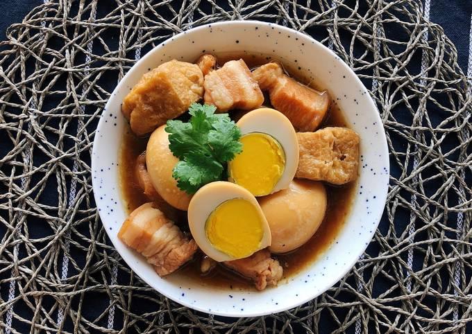 How To Make 🧑🏽🍳🧑🏼🍳 Braised Pork Belly & Eggs• Thai Kai Palo |ThaiChef Food So Easy