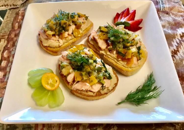 Meyers lemon 🍋 Dill relish On top of hummus Toast