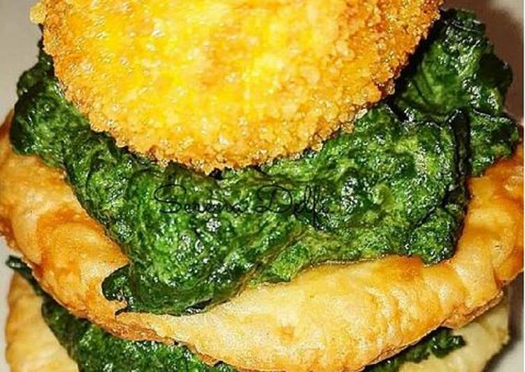 Millefoglie di bietole e robiola con tuorlo fritto di anatra