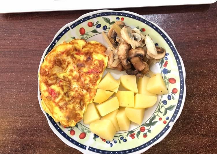 Tumis Jamur Champignon onion - dadar telur rendah kalori