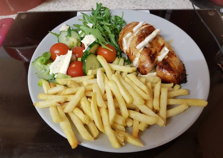 My Roast Breast of Chicken with Melted brié. With Chips & Salad