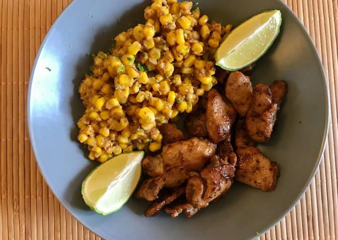 Poulet grillé aux épices, maïs, coco & citron vert