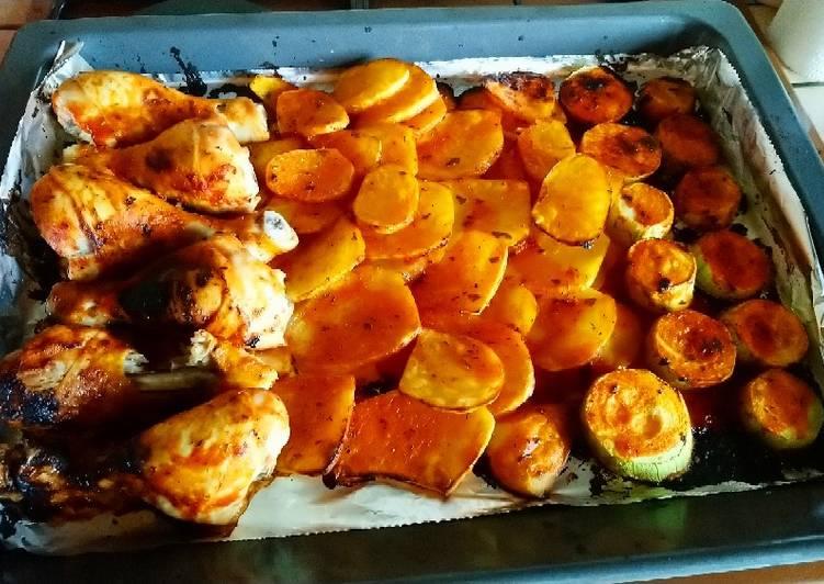 Recettes Pilons de poulet et légumes au four