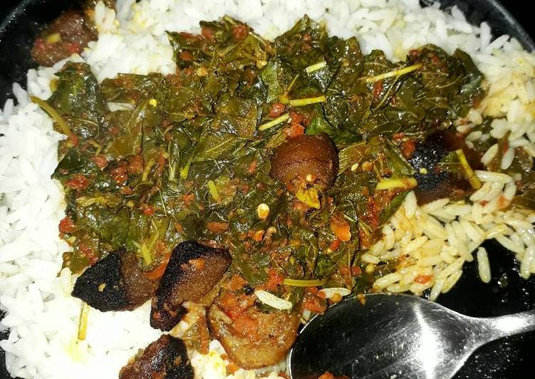 African Food White rice and efo riro