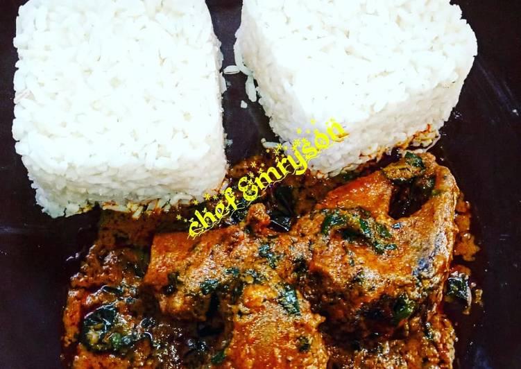 How to Prepare Any-night-of-the-week Banga stew/ofe akwu with boiled rice my way