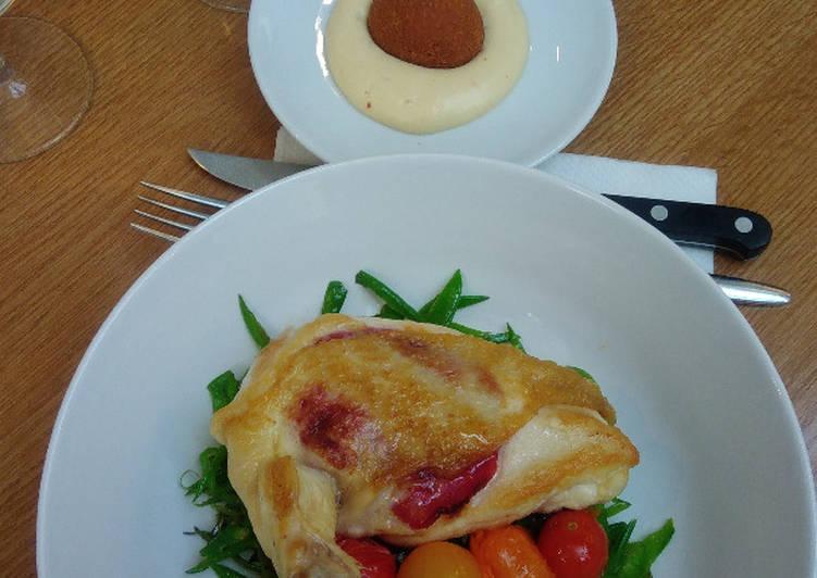 Suprême de volaille au chorizo, pois gourmands et tomates confites…