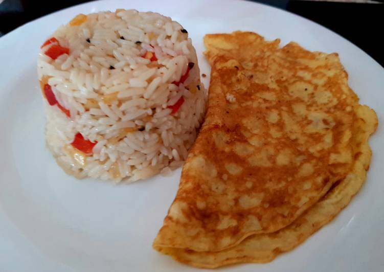 My Lemon Peppered flavoured Rice with Egg Omelette😁