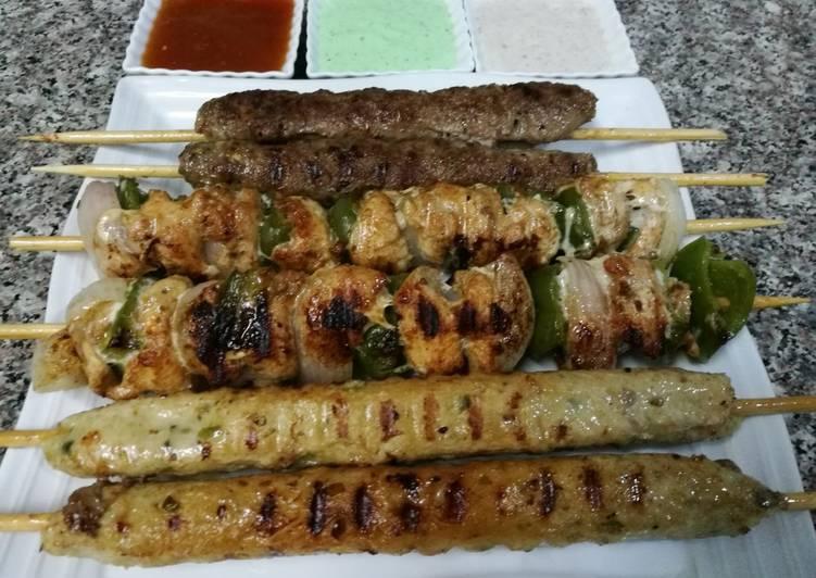 Shish Taouk.kebab koobideh.chicken kebab