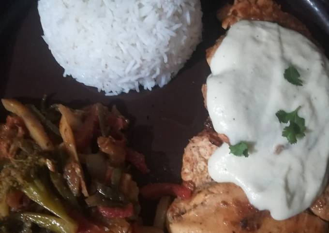 Steak with veggie and boiled rice