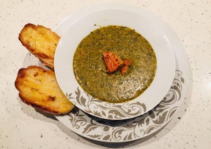 Pea Dhal (Yellow Split Peas) with Garden Herbs