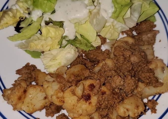Recipe of Speedy Garlic Butter Ground Turkey and Cauliflower Skillet