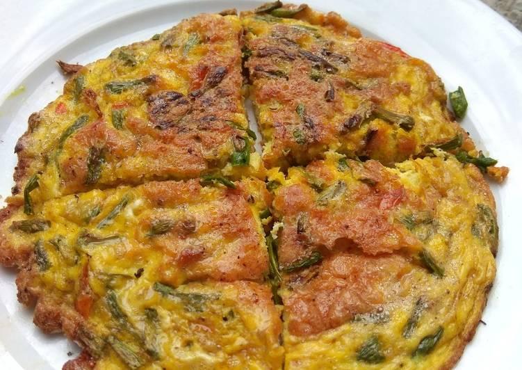 Dadar telur & kacang panjang pedas