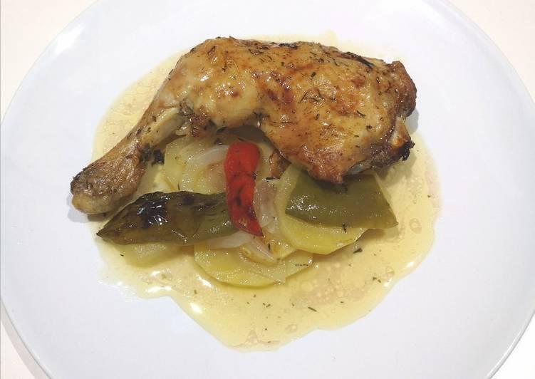 Receta: Sabroso Pollo asado con limón y tomillo