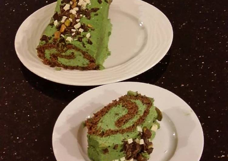 Easiest Recipe: Yummy Chocolate Cake Roll with Pistachio Cream Filling and Frosting