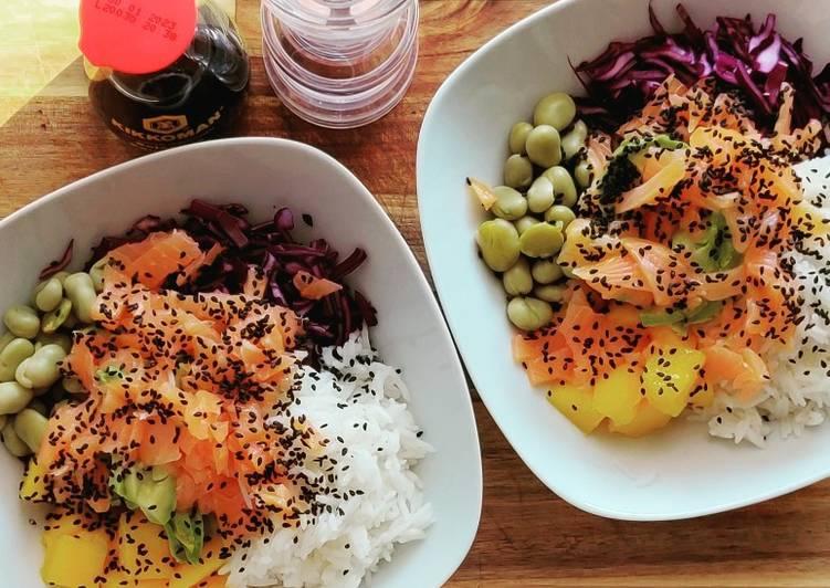 Poke bowl con salmón rosado 🥣