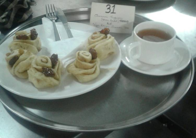 Cinimum tingmo (dumpling) with ginger lemon cinimum tea