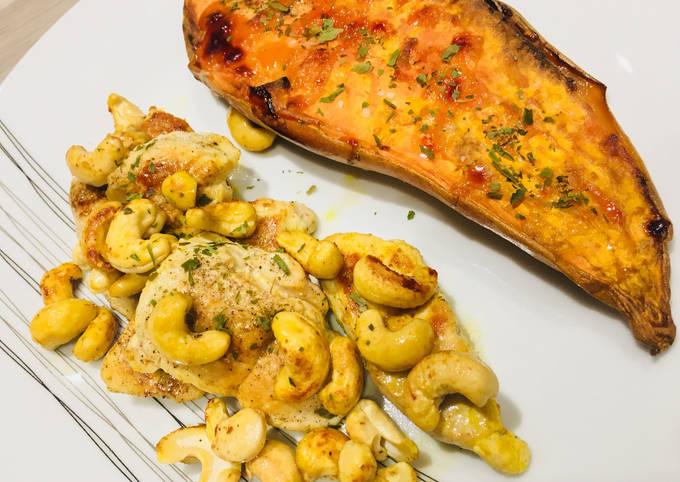 Poulet Curcuma aux Noix de Cajou et Patate douce