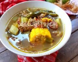 Sayur asem goreng (sayur asem betawi daging sapi)