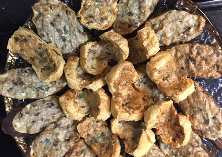 Stuffed meat fish eggplant and tofu