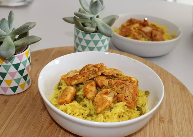 Poulet tandoori et son riz à l'indienne