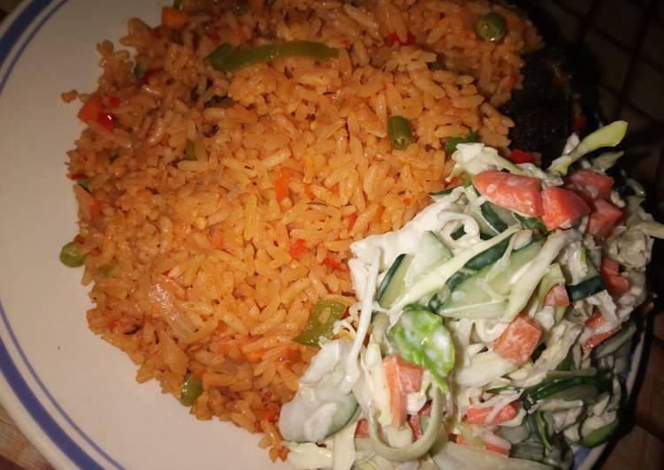 Veggies rice with veggies salad