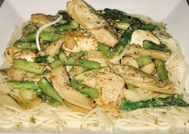 How to Make Ultimate Jerusalem chicken, grilled artichoke hearts, Asparagus on top of angel hair pasta
