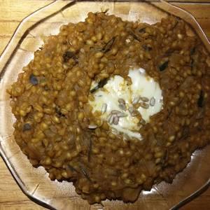 Risotto de cebada perlada y calabaza
