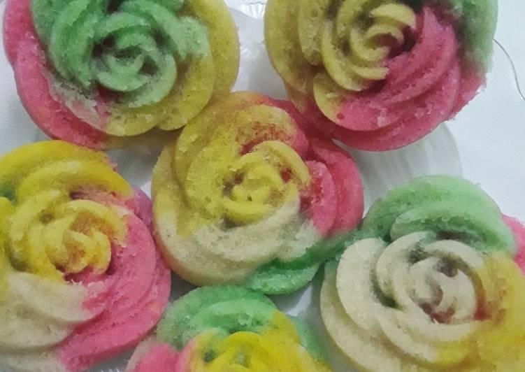 Bolu kukus mawar rainbow
