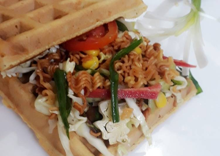 Crunchy salad in Waffle #WokCooking