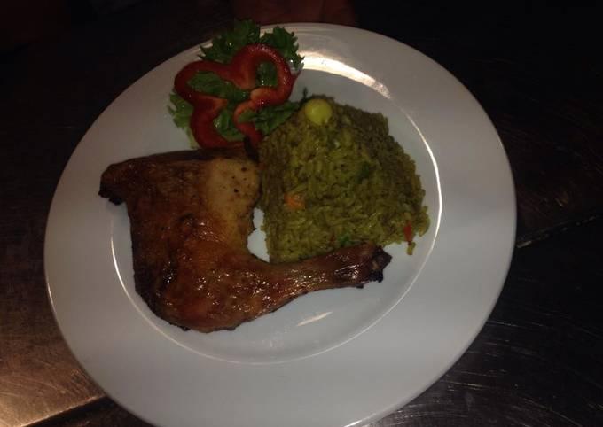 Arroz Verde Con Pollo Para Cinco Personas Receta De El Cebichano Gastronomia Peruana Cookpad