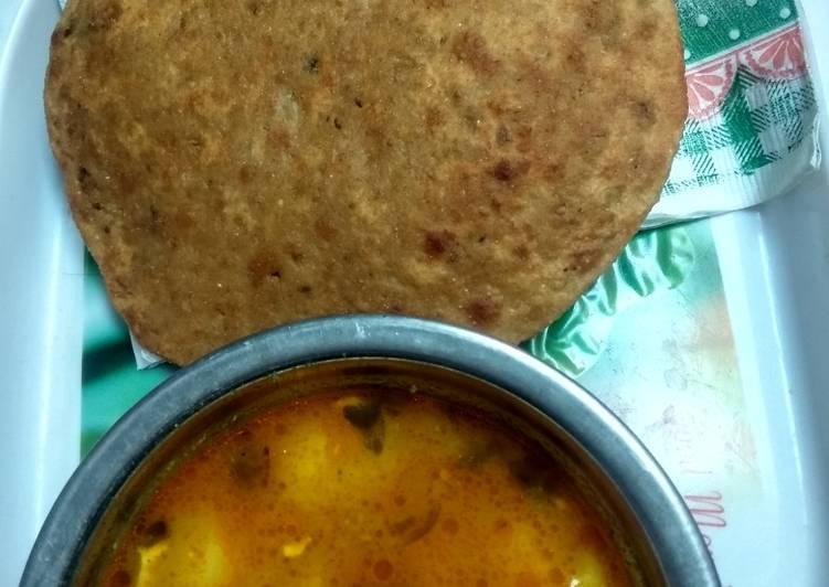 Daal kachori with potato veg