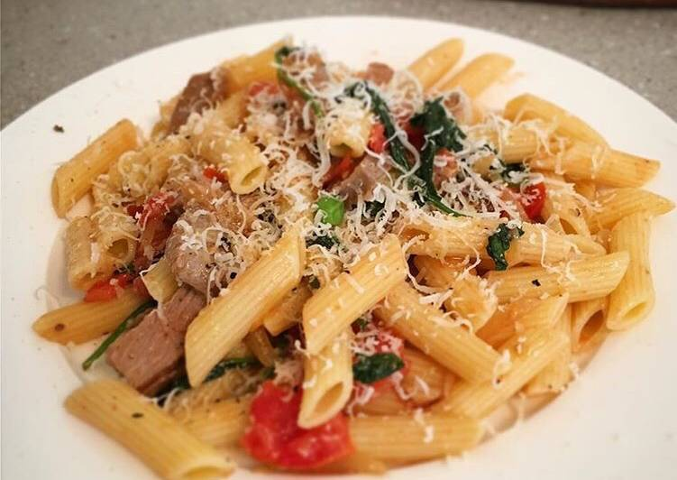 How to Make Perfect Lamb with blistered cherry tomato, spinach on penne pasta
