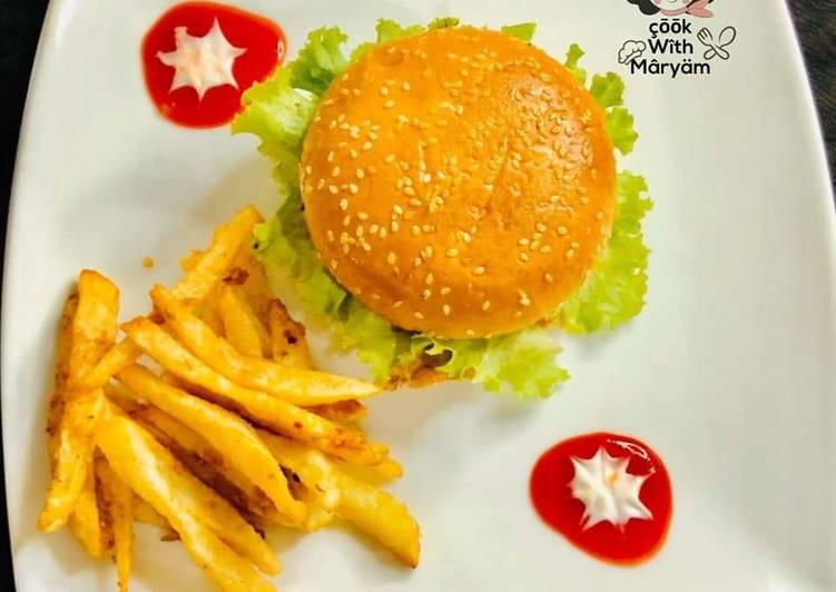Chicken shami burger with crunchy fries 😋👌