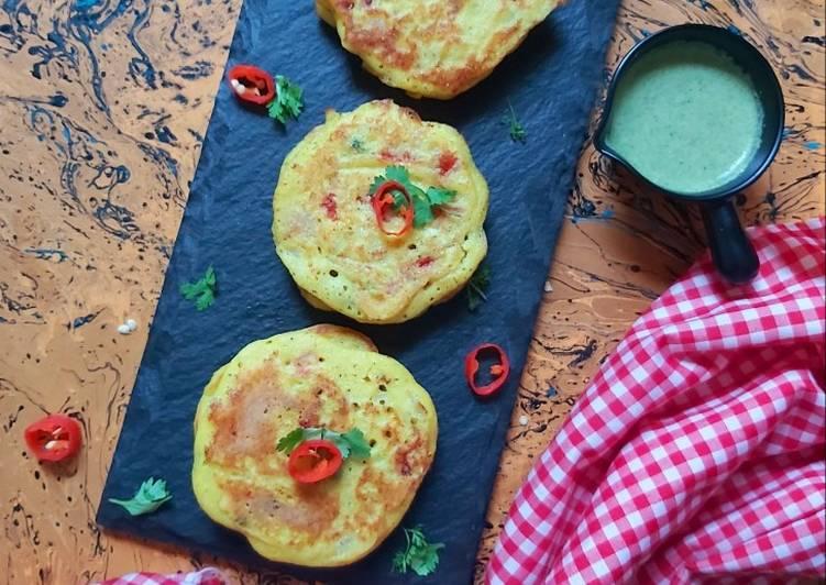 25 Minute Easiest Way to Make Homemade Masala Uttapams with Mint-Almond chutney