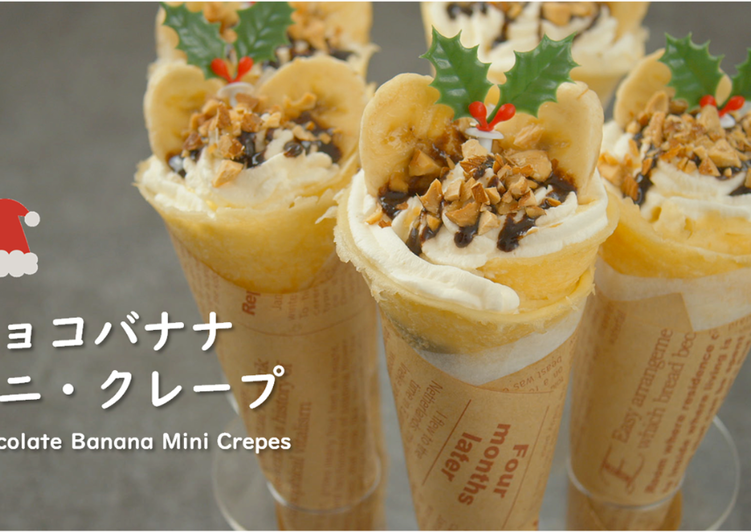 Chocolate Banana Mini Crepes (Japanese Crepes) 【Recipe Video】