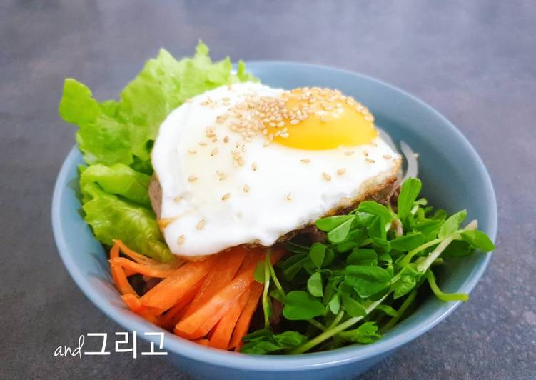 Easiest Way to Make Tasty Bibimbap (Korean Rice Bowl with Beef and Vegetables)