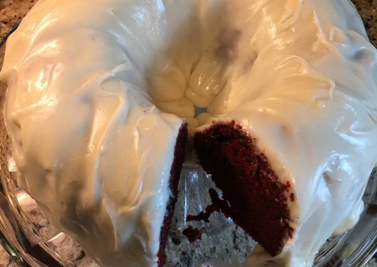 Red Velvet Chocolate Chip Cake w/Cream Cheese Icing