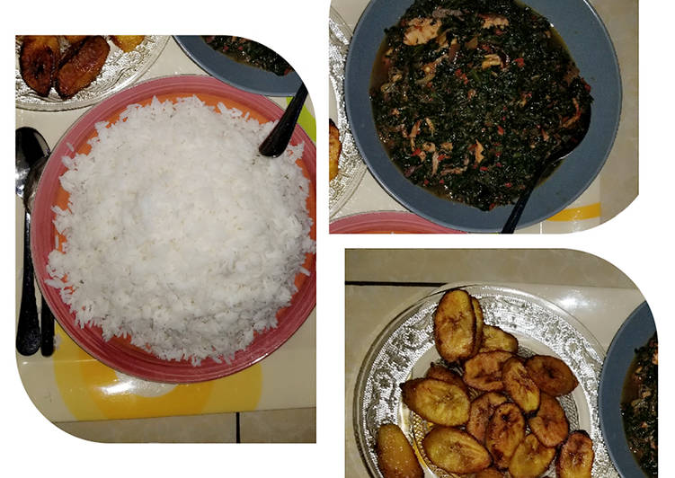 White rice and vegetable sauce and plantain - Laurie G Edwards