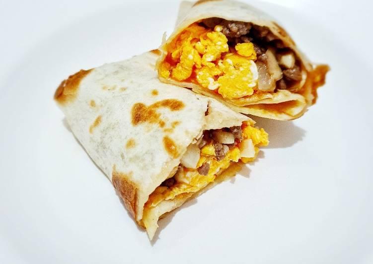 Resep Mushroom Beef Burrito With Scramble Egg Oleh Dhila Fiberia Cookpad