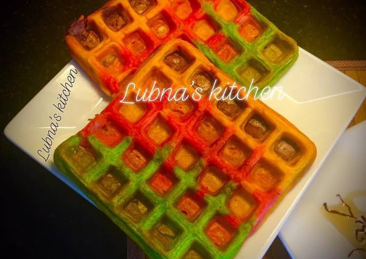 Recipe of Super Quick Homemade Rainbow Waffles 🌈