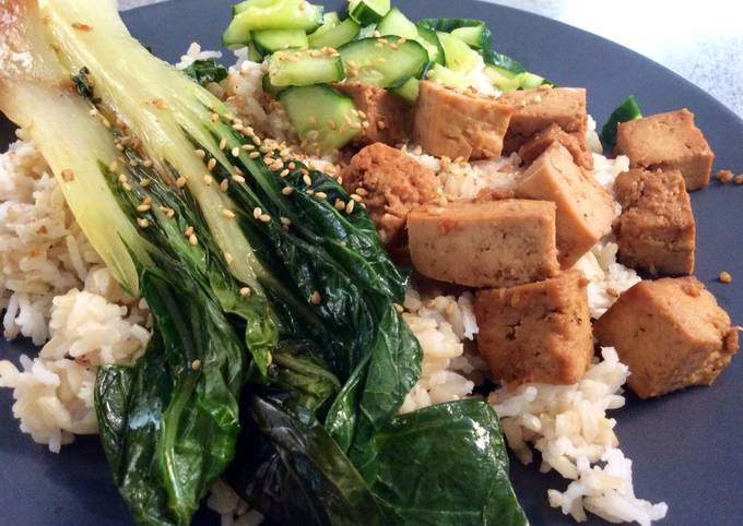 Tofu & Grilled Pak Choi & Sweet and Sour Cucumber