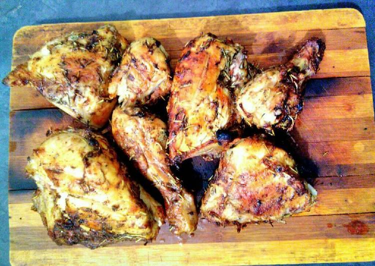 Spicy herb chicken serve on board