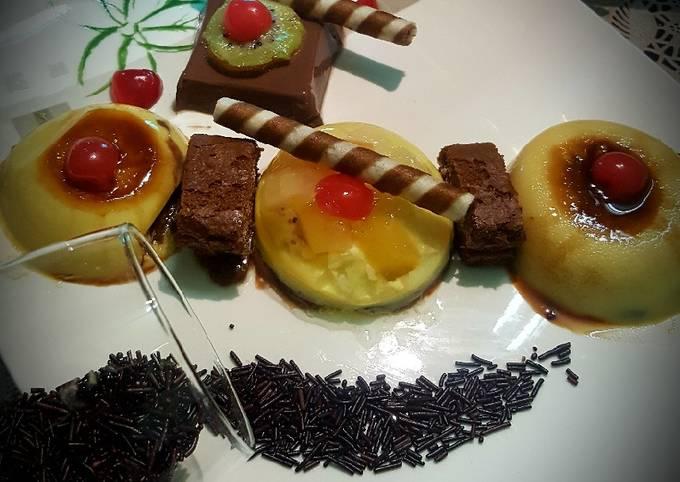 FruityJello Dome upside Down Egg Pudding & Chocolate Mousse