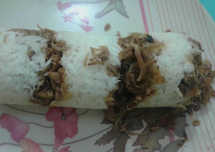 Recipe of Perfect Tapioca chicken puttu (kappa erachi puttu)